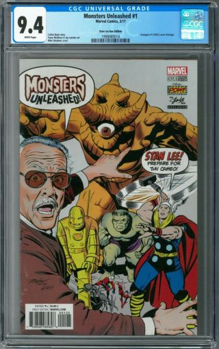 Monsters Unleashed 1 Cgc 9.  4 (mar 2017 Marvel) Mike Mayhew Stan Lee Box Variant