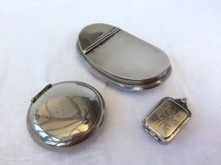 Three Vintage Silver Plated Snuff Boxes
