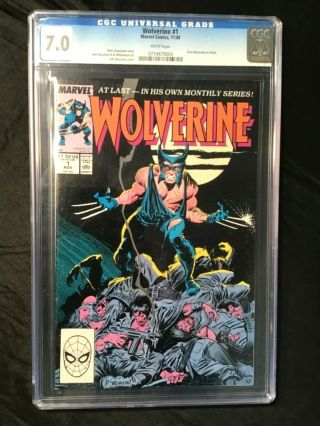 Comic Book Wolverine 1 Marvel 1988 Cgc 7.  0 1st Wolverine As Patch White Pages