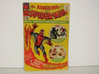 Marvel Comic 1/1964 Vol.  1 No.  8 - Human Torch - The Spider - Man
