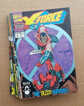 X - Force Complete Run 1 - 40 1st Issue Deadpool ' s 2nd App 1st Domino 1991 VF/NM 7