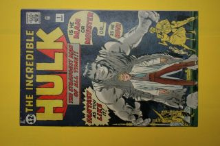 Authentic Old Comic The Incredible Hulk 1 Issue Marvel 1962