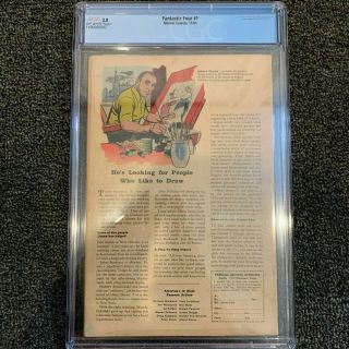 FANTASTIC FOUR 1 CGC 3.  0 OFF - WHITE PAGES 11/1961 2