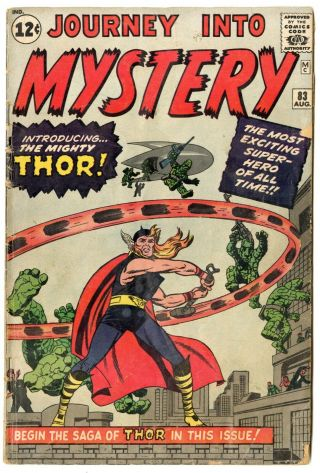 Journey Into Mystery 83 Vg - 3.  5 Origin & 1st App.  Thor Marvel 1962 No Resv