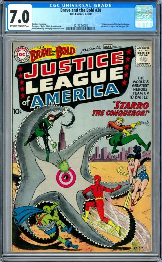 Brave And The Bold 28 Cgc 7.  0 (ow - W) 1st Appearance Of The Justice League