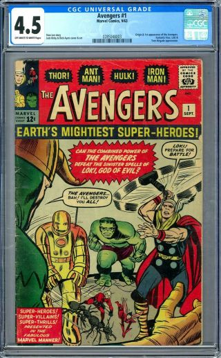 Avengers 1 Cgc 4.  5 (ow - W) Origin & 1st Appearance Of The Avengers