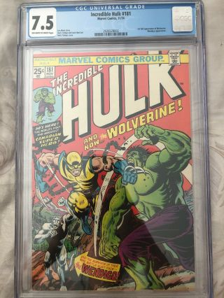 Incredible Hulk 181 Cgc 7.  5 1st Full App Of Wolverine.  Wendigo App