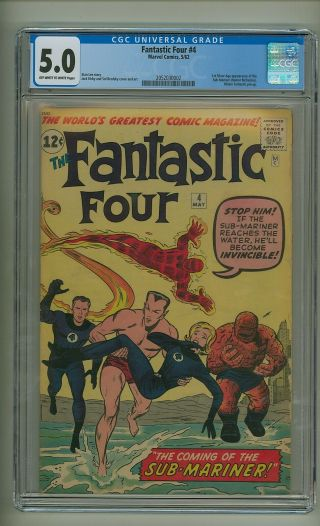 Fantastic Four 4 (cgc 5.  0) Ow/w Pgs; 1st S.  A.  App.  Sub - Mariner; Kirby (c 25044)