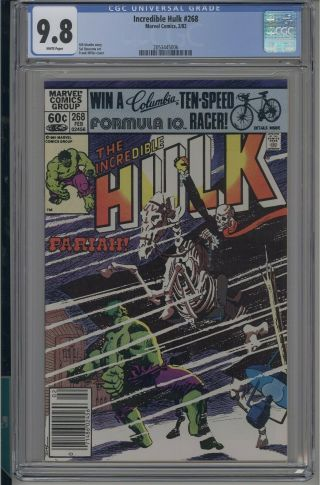 Incredible Hulk 268 Cgc 9.  8 Nm/mt Marvel 1982 White Pages Discounts