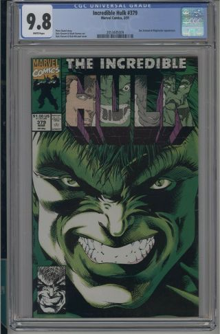 Incredible Hulk 379 Cgc 9.  8 Nm/mt Marvel 1991 White Pages Discounts