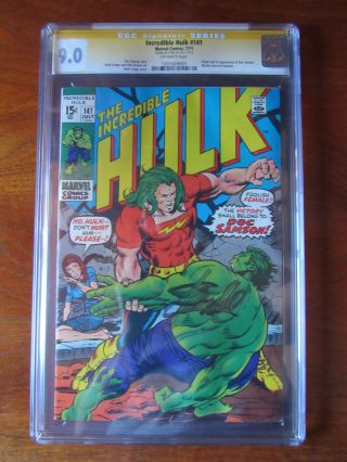 The Incredible Hulk 141 Cgc Signed By Stan Lee 9.  0 Ss Doc Samson