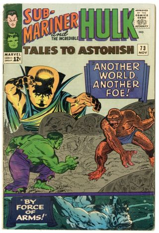 Tales To Astonish 73 G/vg 3.  0 Off - White Pages Sub - Mariner Hulk Marvel 1965