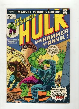 Incredible Hulk 182 G/vg 3.  0 Cream To Off White Pages Wolverine Cameo