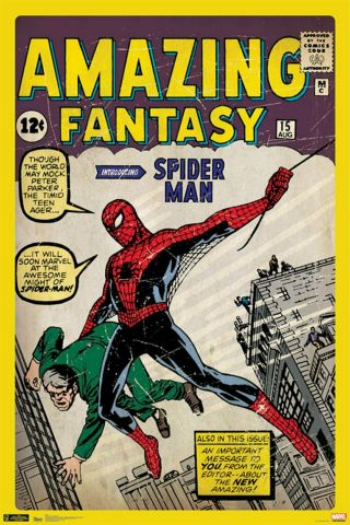Spiderman Poster  24x36 Fantasy 15 Classic Vintage Spiderman Poster
