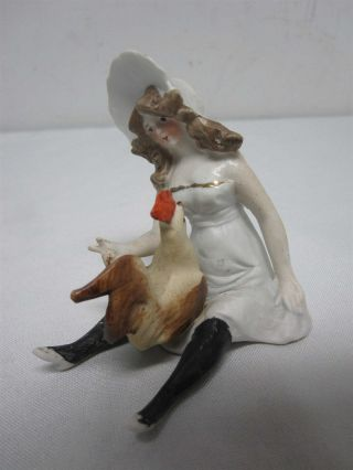 Antique German Bisque Schafer & Vater Naughty Lady W Rooster Cock On Her Lap