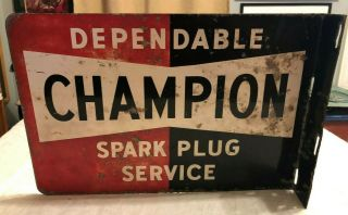 Champion Dependable Spark Plug Service Vintage 2 Sided Flange Sign