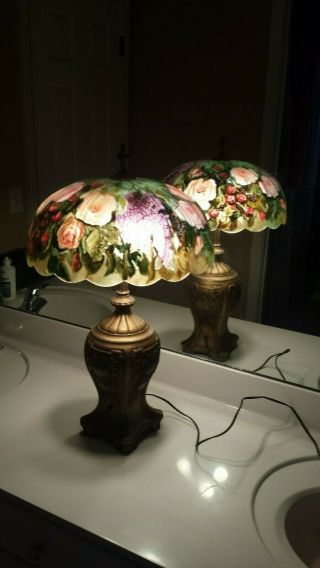 Artist Signed Reverse Painted Lamp - Art Nouveau - Art Deco - C.  Sweet