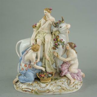 Antique Meissen porcelain GROUP OF EUROPA AND THE BULL 2