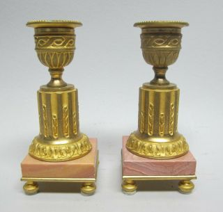 """Unique 4.  75 """" French Gilt Bronze & Pink Marble Candle Holders C.  1900 Antique"""