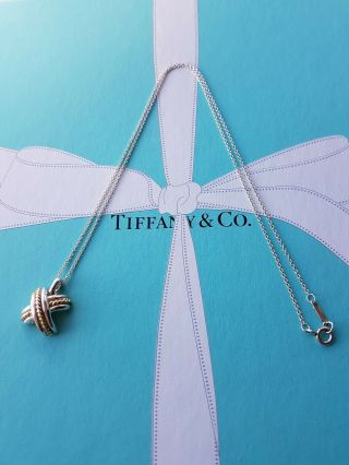 Authentic Rare Vintage Tiffany Silver & 750 18k Gold Cross X Necklace,