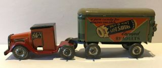 Vintage Lindstrom Pep - O - Life Savers Tin Litho Toy Truck And Trailer