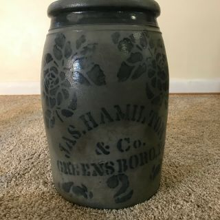 Antique James Hamilton & Co 2 Gallon Stoneware Crock Greensboro Pa