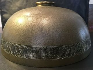 Signed Tiffany Studios Desk Floor Lamp Shade Dore Bronze Greek Key 10""