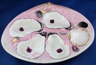 Antique Union Porcelain Upw Four Well Oyster Plate American Usa Porzellan