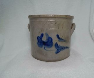 Antique Stoneware Crock Cobalt Decorated F.  J.  Caire Huntington Long Island Ny