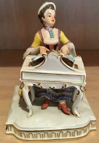 Meissen Porcelain Figure Of A Woman Playing The Piano