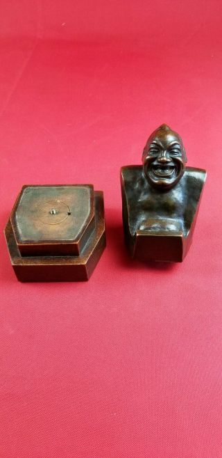 "Antique 1909 "" Laughing Buddha "" Enrico Caruso Bust Roman Bronze"