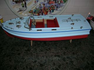Toy Wood Boat Battery Operated Boat Wooden Ito 17 Inches Long Vintage Inboard