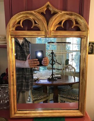 19thc Style American Gothic Revival Gilt Mirror