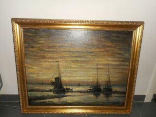 Large Old Oil Painting,  { Coast Scene With Fishermen & Moon,  After Mesdag }.