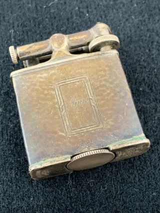 Vintage Sterling Silver Clark Lift Arm Pocket Lighter - Hammered Finish