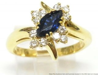 Heavy 18k Gold Diamond 0.  70ct Natural Sapphire Ring Numbered Hi Quality Vintage
