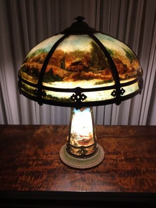 "Miller Reverse Painted Lamp With Illuminated Base.  ""last Call"""