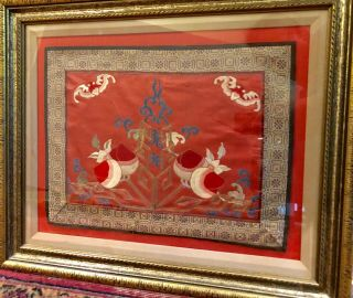 Antique Qing Dynasty Chinese Silk Embroidery Panel Framed Peaches And Bats