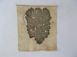 Antique Fragment Of Serbian Folk Costume Silver Thread Embroidery Late 19th C.