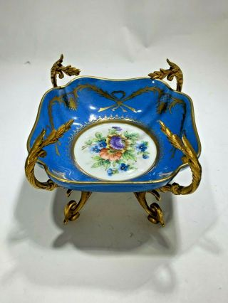 Antique 1757 Sevres Hand Painted Porcelain & Gilt Ormolu Trinket Dish With Stand