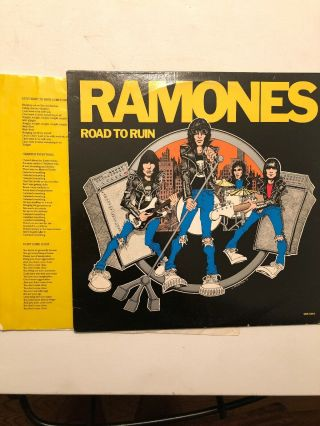 Ramones Road To Ruin Sire Lp Ssrk6963 1978 Vg