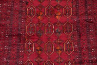 Vintage Geometric Balouch Afghan Oriental Area Rug Hand - Knotted Red Carpet 4x7