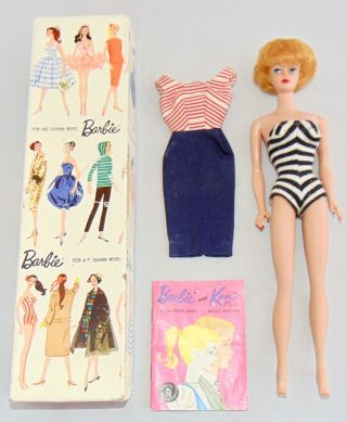 Vintage 1959 Mattel Barbie Doll Teenage Fashion Model Bubble Cut No 850
