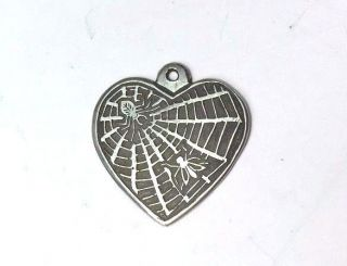 An Awesome Antique Sterling Silver Heart Pendant Charm With Bug And Spider Web