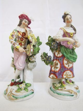 Antique French Porcelain Young Man & Woman Figurines