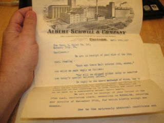 Rare Orig 1917 Pre - Prohibition Nm Letter Albert Schwill And Co Brewery Letter.