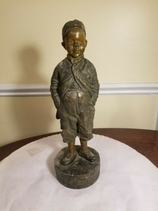 "Antique Bronze "" Contentment "" Boy Statue.  Bought In Germany.  11 "" High"