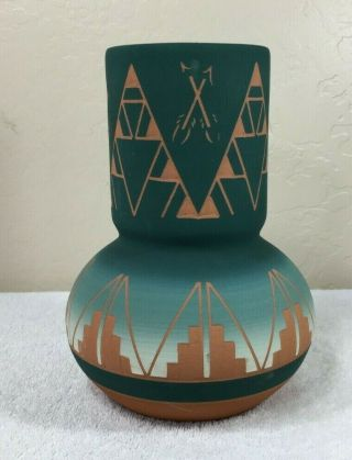 Vintage Native American Clay Pottery Spirit Vase Lakota Sioux Signed By Artist