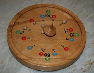 Vintage Wood Spinning Top Game.  German Roulette Table Game With Wooden Marbles