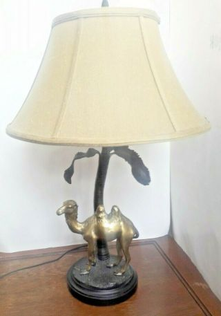 "Vintage Brass Camel Palm Trees 24 "" Table Lamp With Shade"